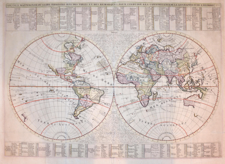 Chatelain Henri Abraham Nouveaux Mappemonde ou Globe Terrestrrrre avec des Tables et des Remarques pour conduire a la connaissance de la Geographie et histoire.