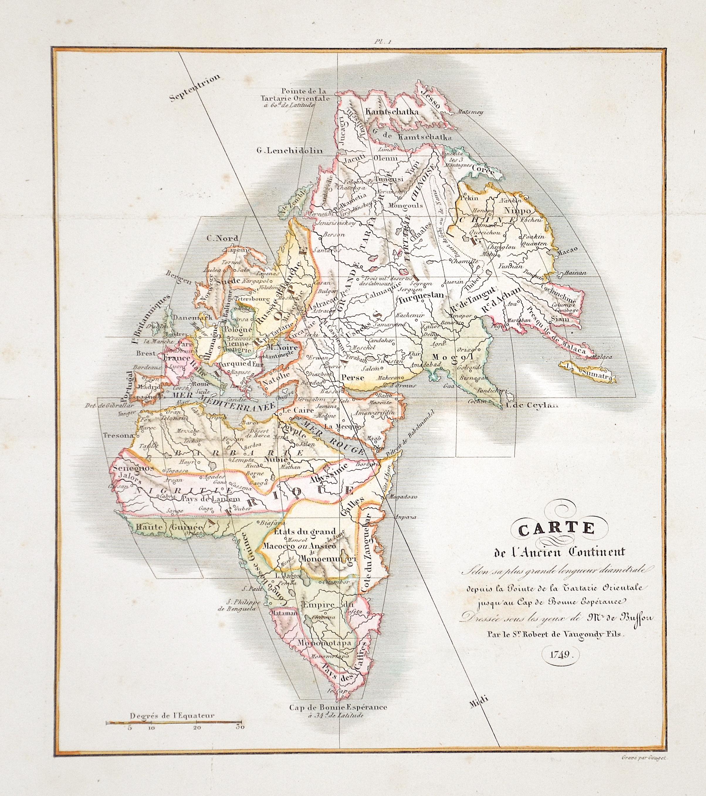 Vaugondy,de Robert Carte de l'Ancien Continent…