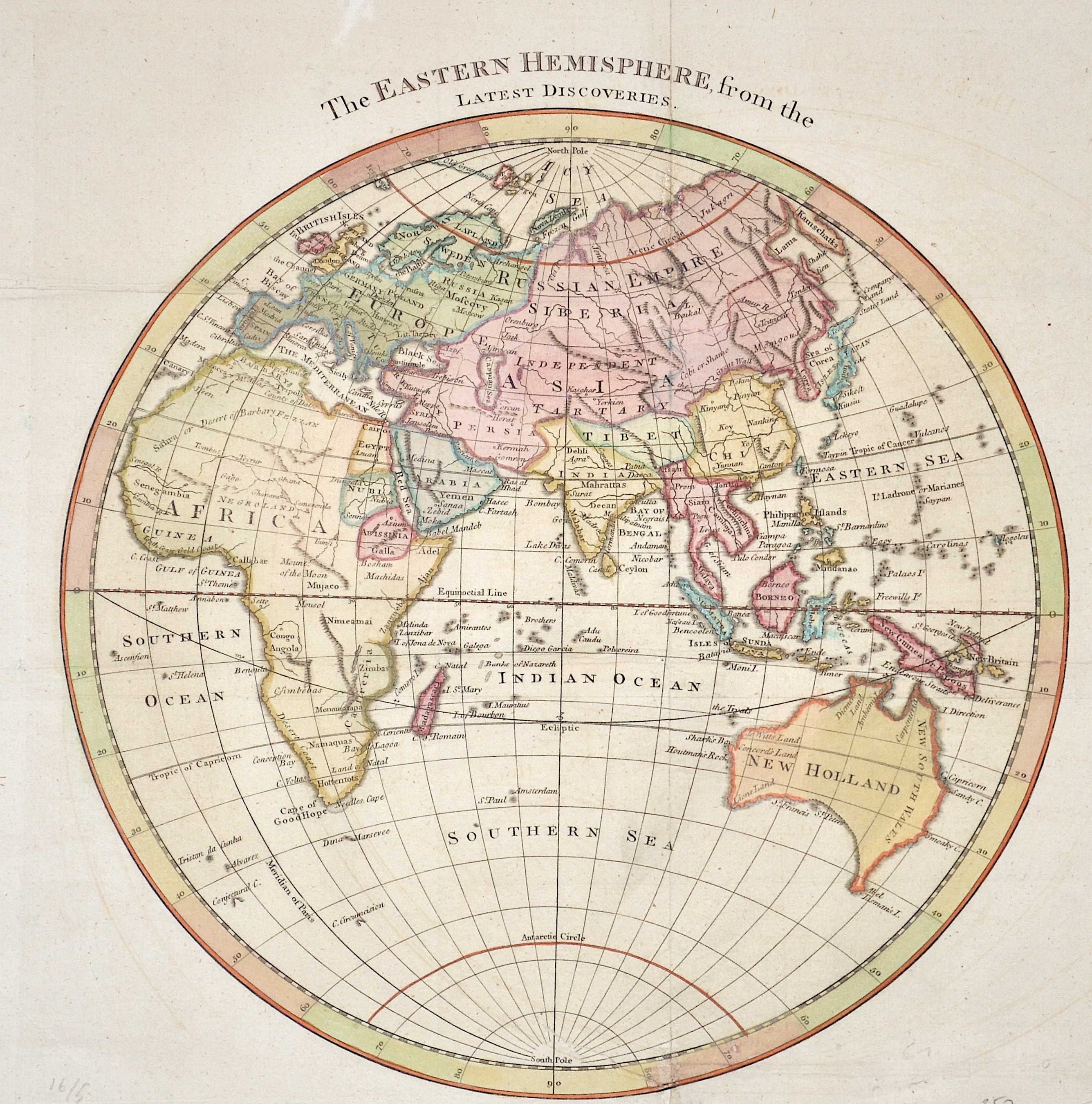 Anonymus  The Eastern Hemisphere, from the Latest Discoveries.