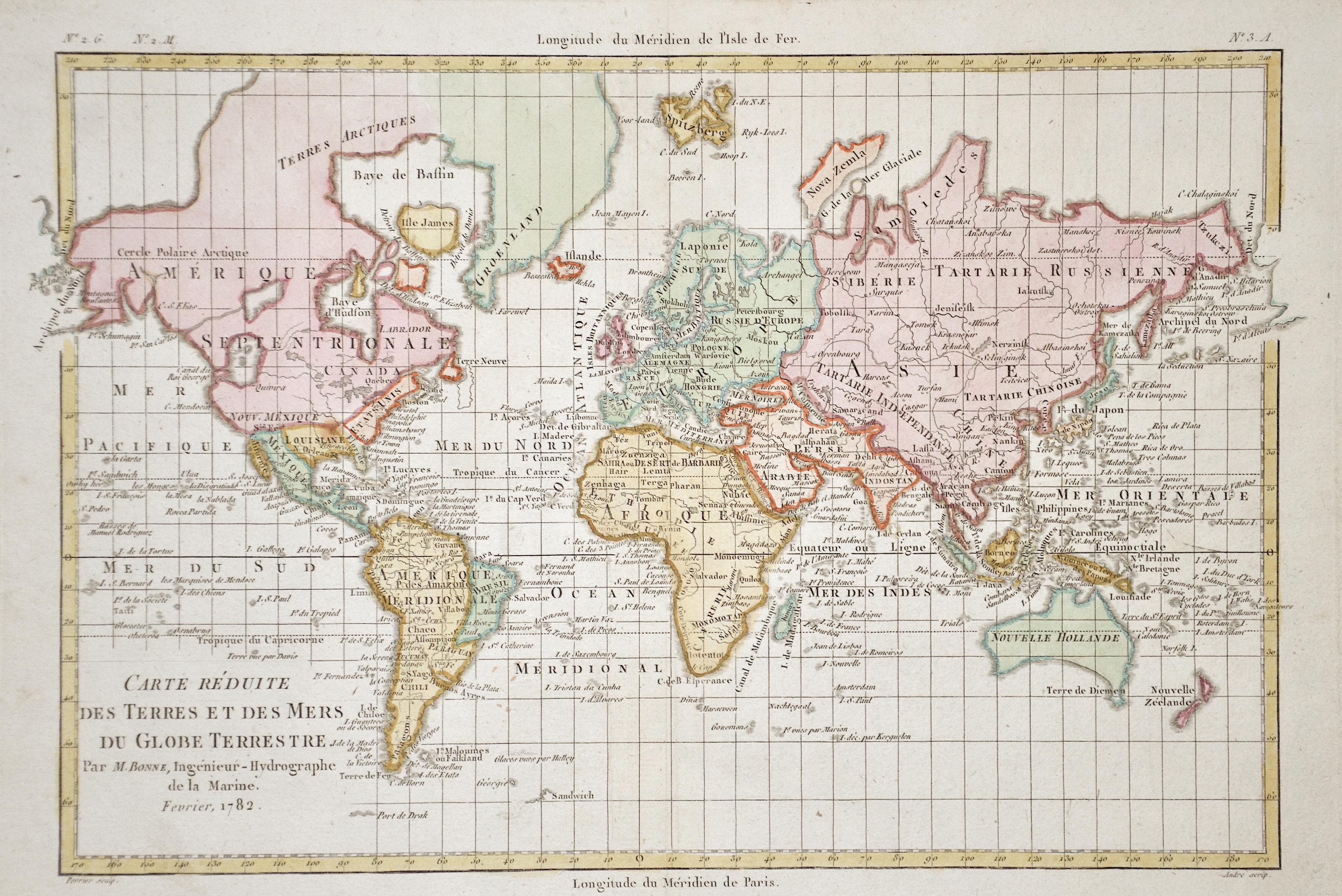 Bonne Rigobert Carte Réduite des Terres et des Mers du Globe Terrestre.