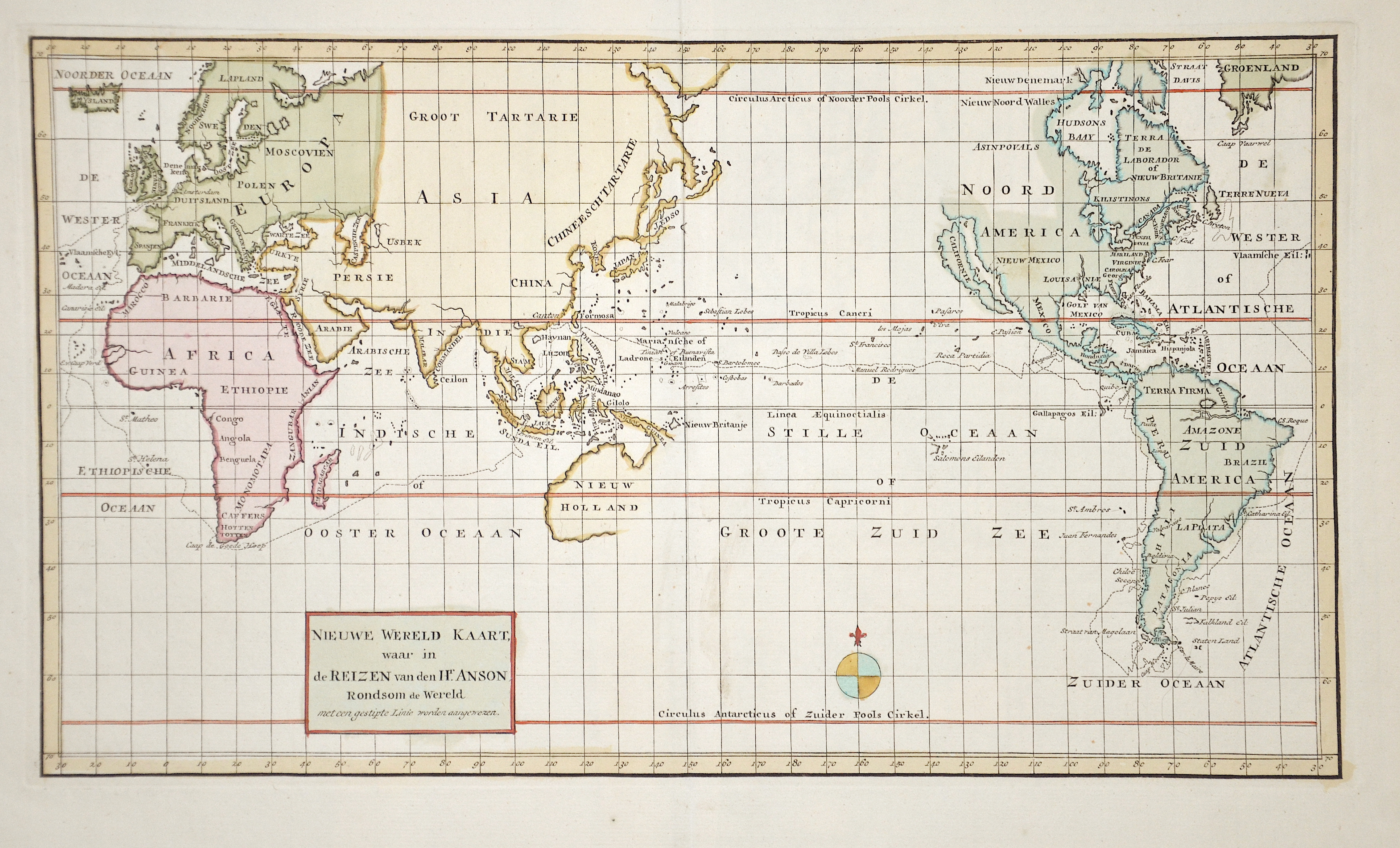 Tirion Isaak Nieuwe Wereld Kaart, waar in de Reizen van den Hr. Anson Rondsom de Wereld