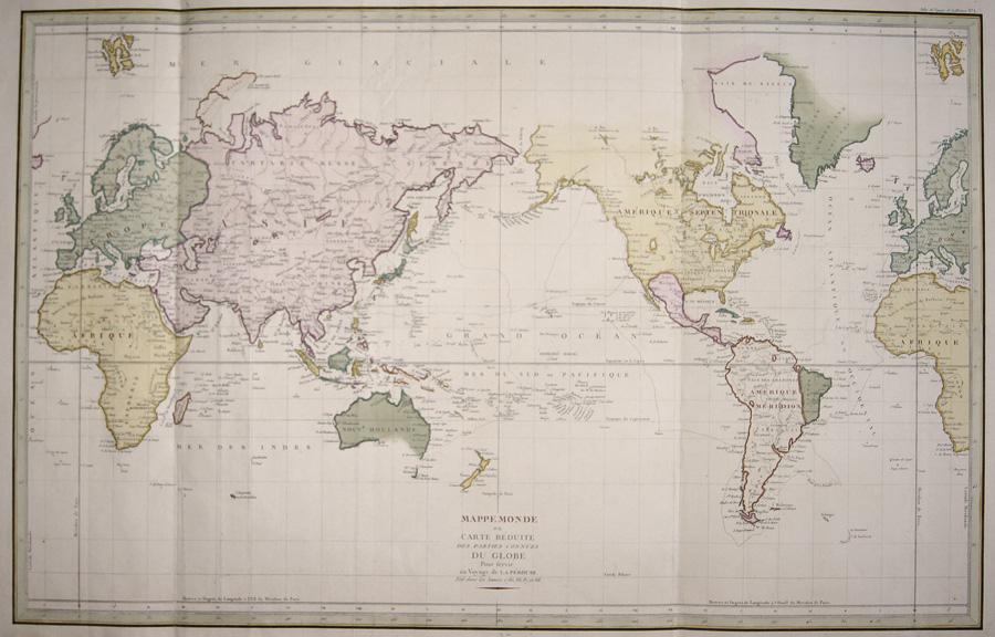 Pérouse, la Jean Francois Mappe Monde ou Carte reduite des parties connues du Globe