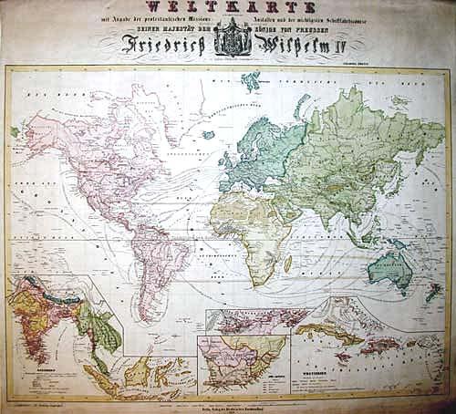 Anonymus  Weltkarte mit Angabe der protestantischen Missions-Anstalten…