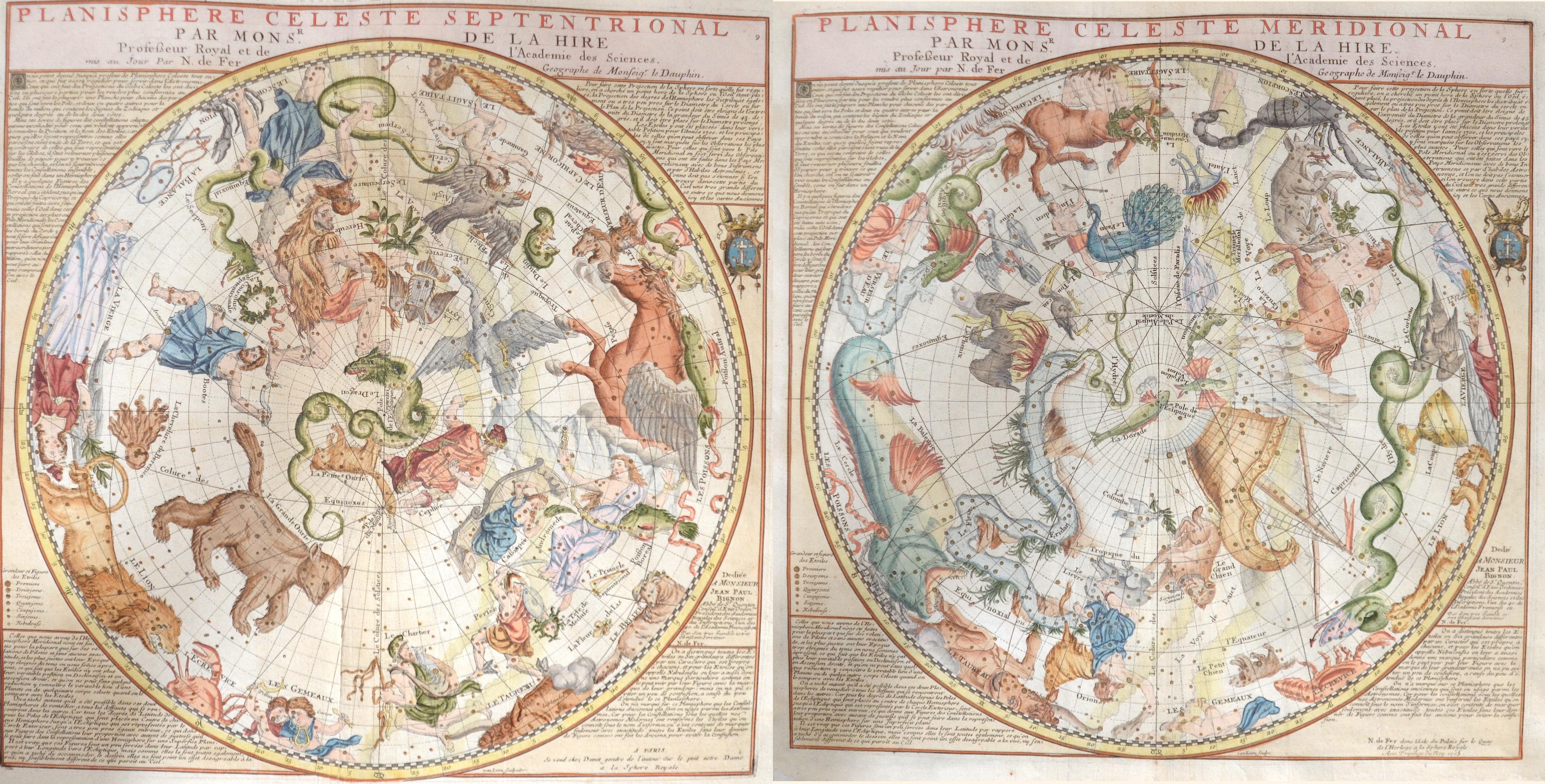 Fer, de Nicolas Planisphere Cheleste Septentrional par Mons Sr. De la Hire..