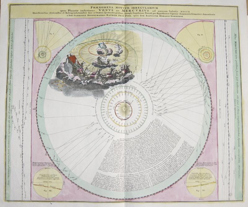 Homann / Doppelmayer, J.G. Johann Babtiste Phaenomena Montuum Irregularium quos Planetae inferiores Venus et Mercurius ad annum Salutios MDCCX