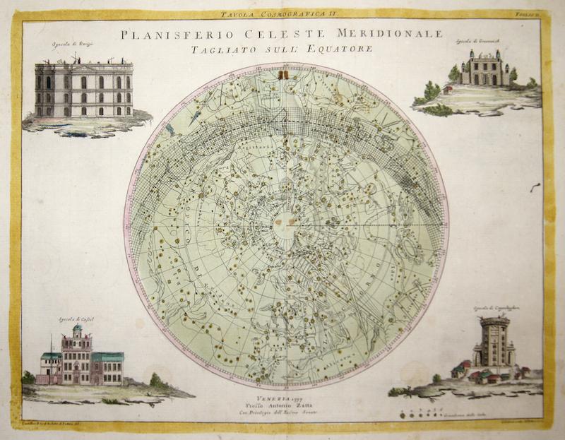 Zatta Antonio Planisferio Celeste Meridionale Tagliato Sull' Equatore