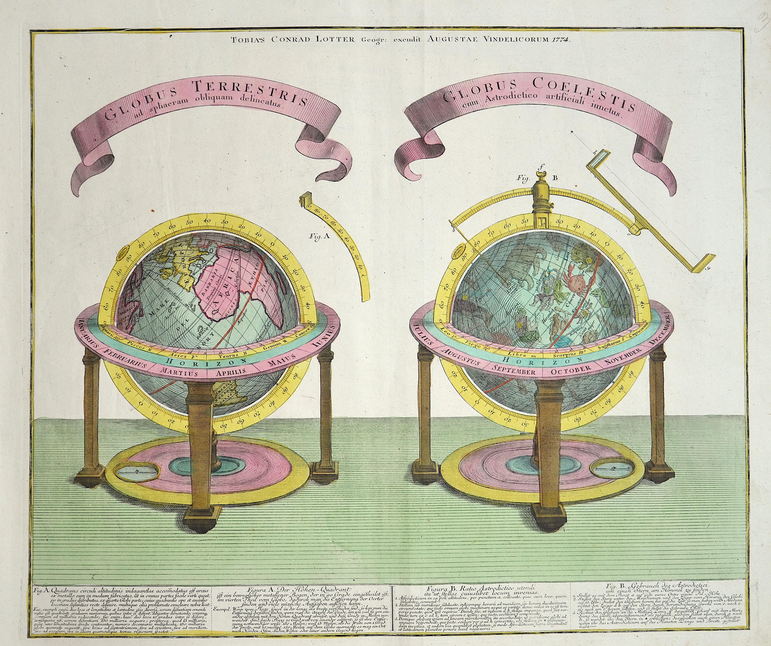 Lotter Tobias Conrad Globus Terrestris ad spaeram obliquam delineatus/Globe Coelestis cum Astrodictio artificiali iunctus