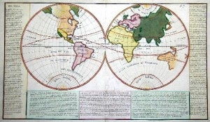 Des Mers (1720 ) shows the world and ist seas, description of the seas and the golfs