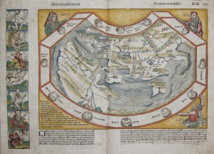 map of the ancient world, surrounded by twelve wind heads, in the corners the three sons of Noah, Sem, Ham und Iaphet.Left border shows illustrationsof strange and mythological creatures.On reverse 14 more strange creatures.