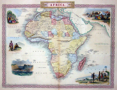 Africa, 1850. Map shows total Africa with 5 beautiful representations of St. Helena, inhabitants and bedouins