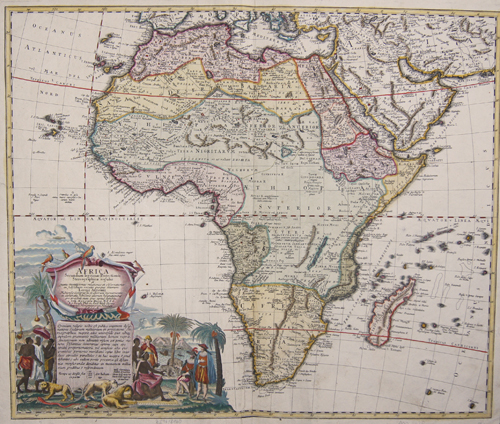 Africa (1737) Dimensions: 46 x 55 Coloring	: original colored Technique: Copper print Place of Issue : Nuremberg