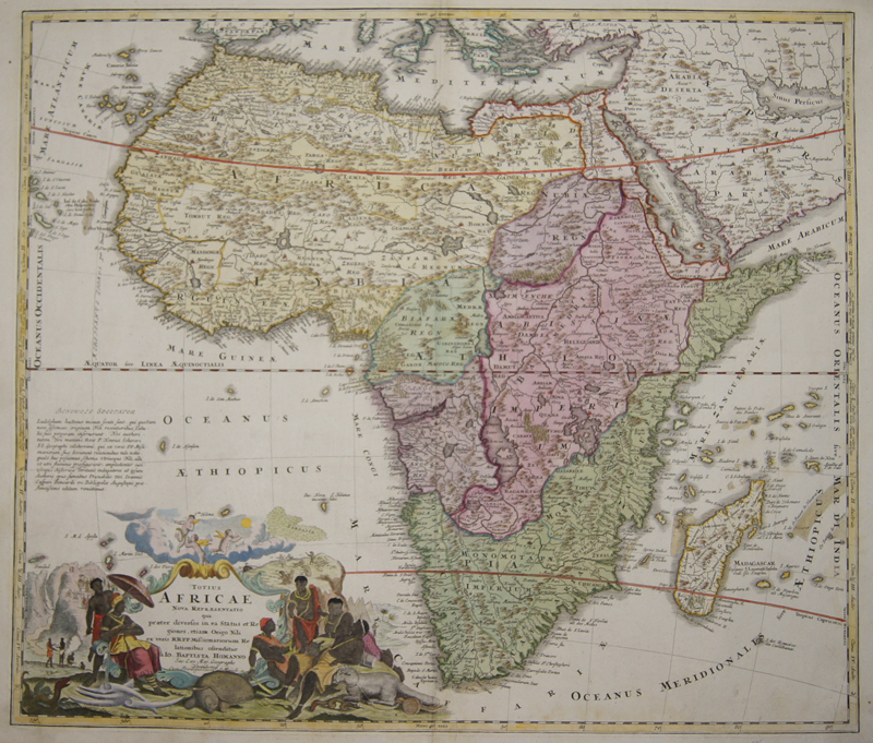 Totius Africae nova Repraesentatio (1710) Map shows total Africa with a beautiful cartouche, showing natives and the animal world of the continent. Dimensions: 48,5 x 46,5 Coloring: original colored Technique: Copper print Place of Issue : Nuremberg